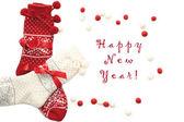 Vlna vánoční ponožky, červená a bílá na bílé