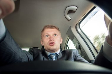 Aggression behind the wheel, the driver is surprised