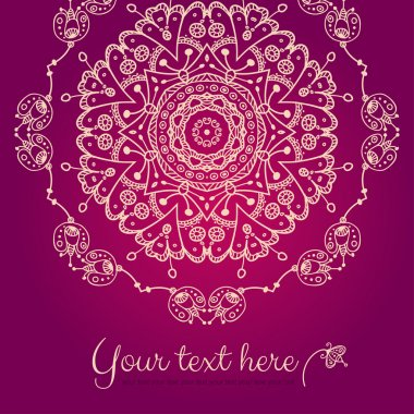 Abstract vector card with ornamental round mandala