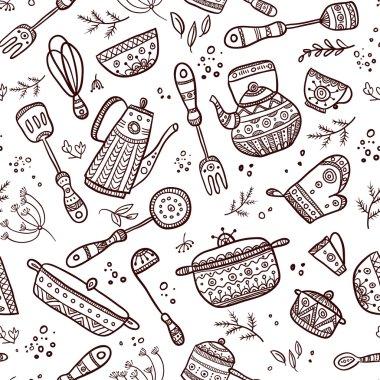 Seamless pattern of kitchen items