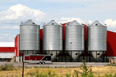 Metal grain facility on a farm