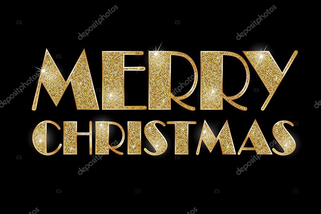 Buon Natale Zecchino Doro Testo.Buon Natale Testo Dorato Di Vettore Su Priorita Bassa Nera
