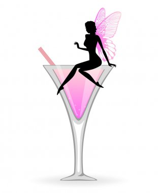 Pink cocktail and fairy