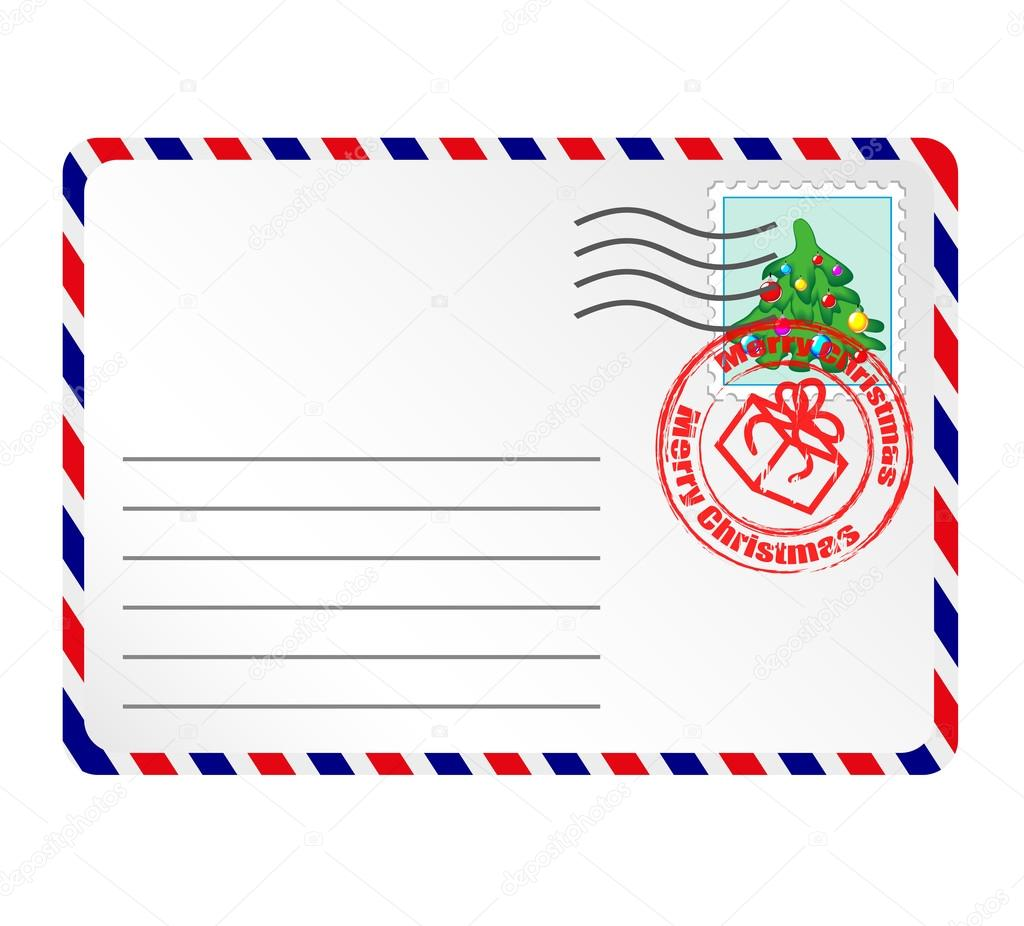 Letter To Santa Claus With Stamps And Postage Mark  Stock Vector
