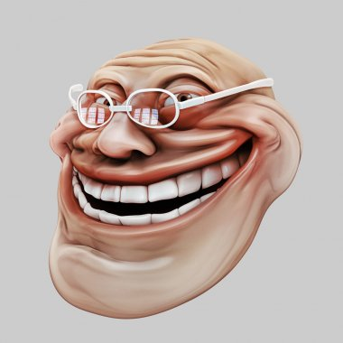 Trollface spectacled. Internet troll 3d illustration