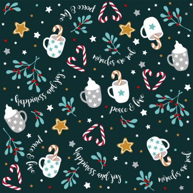 Christmas new year holiday seamless vector pattern .Red white lollipops candies, cups, ginger cookies, grey stars, marshmallows, leaves, berries.Green background.Print, fabric, wrapping gift paper. icon