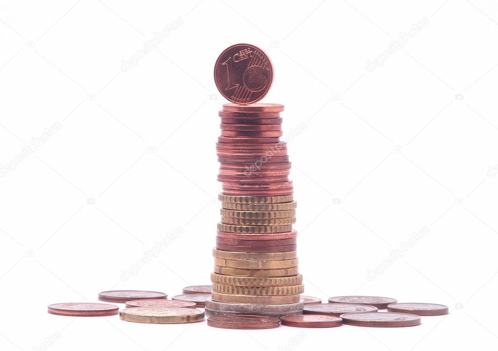 1 Cent On Top Of Coin Tower Stock Photo Catalinr 98126024