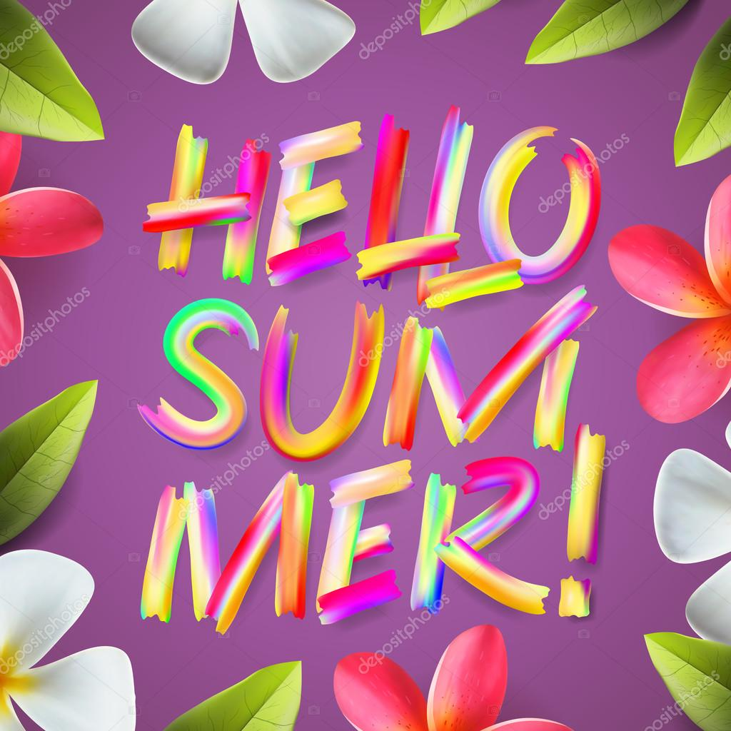 Hello summer, holiday colorful template, floral