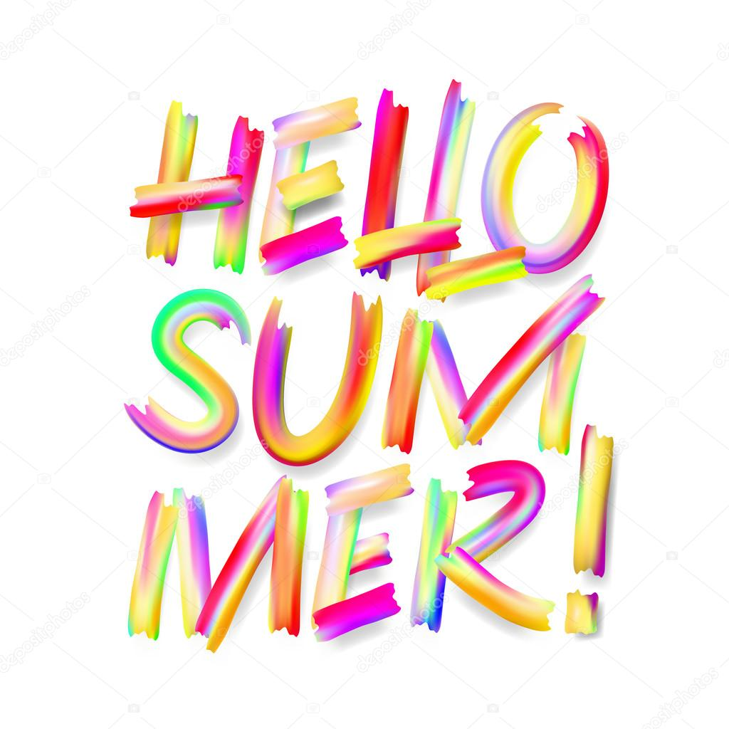 Hello Summer, typographic design on isolated white
