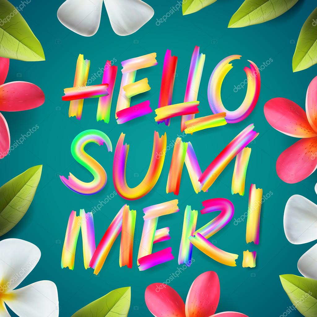 Hello Summer, typographic design on a tropical floral background, vector illustration.