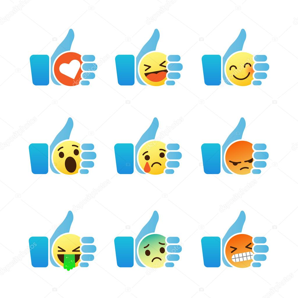 Set of emoticons thumb up symbol with emoji smiley faces vector set of emoticons thumb up symbol with emoji smiley faces vector illustration buycottarizona Images