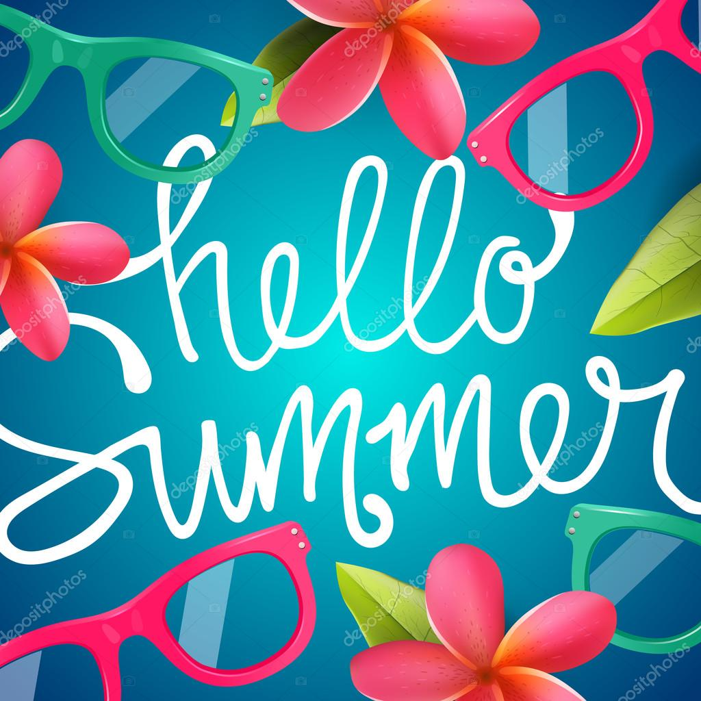 Hello summer, colorful background with Frangipani