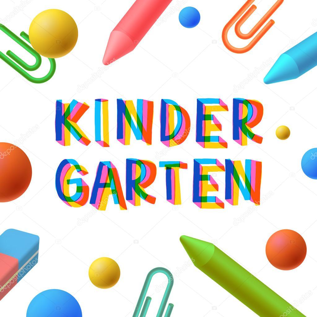 Jardín de infancia, plantilla preescolar, aprendizaje, estudio ...