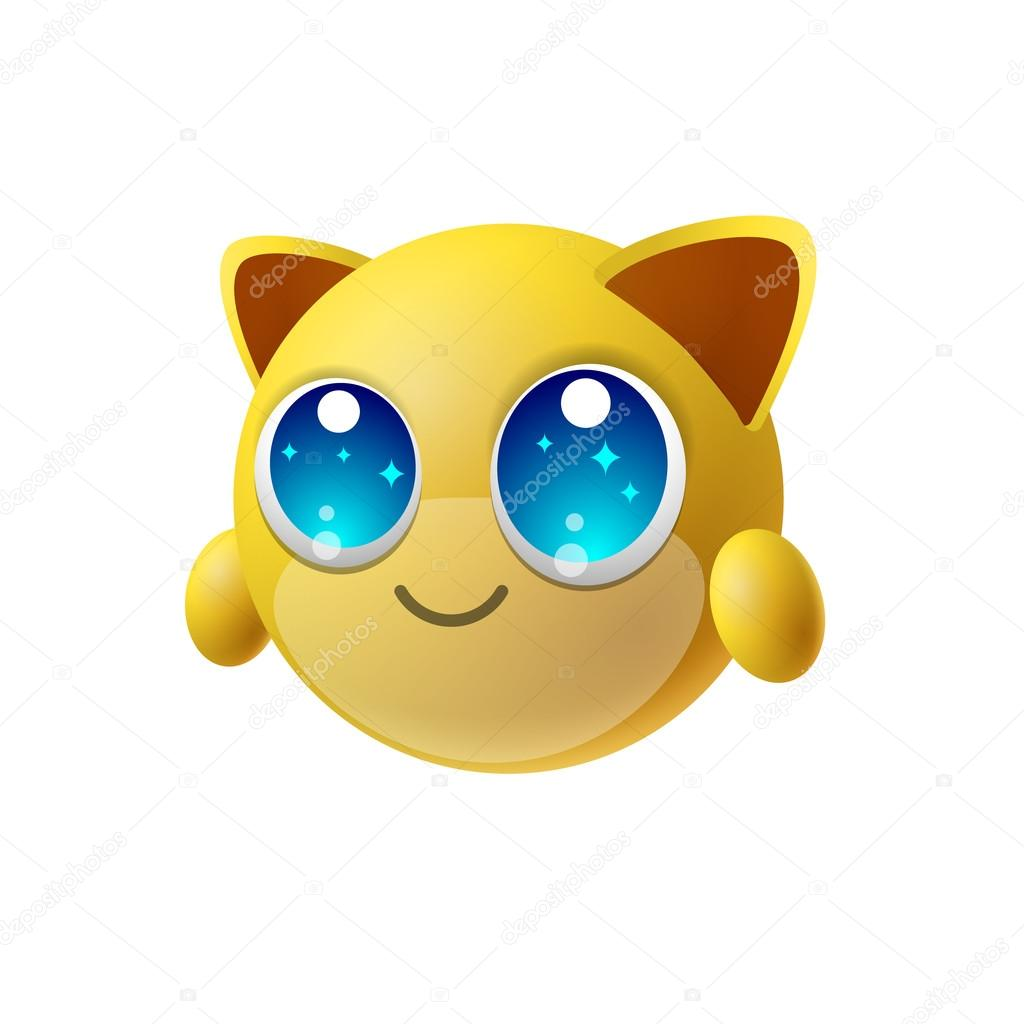 Emoji animale sveglio con i grandi occhi personaggio dei cartoni