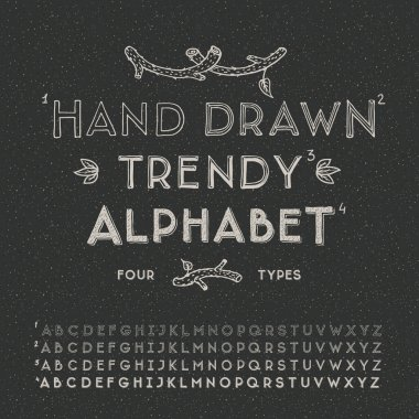 Trendy hand drawing alphabet, vector illustration.