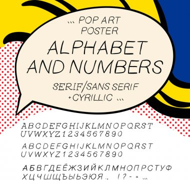 Comics pop art alphabet and numbers, vector illustration.