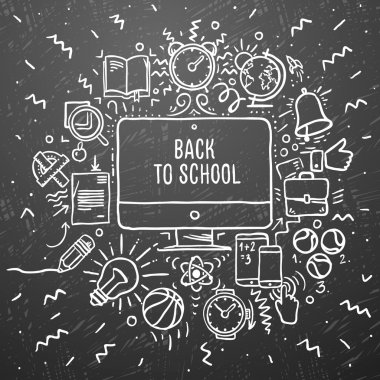 Freehand chalk drawing school items on the black chalkboard. Back to School, vector Eps10 illustration.