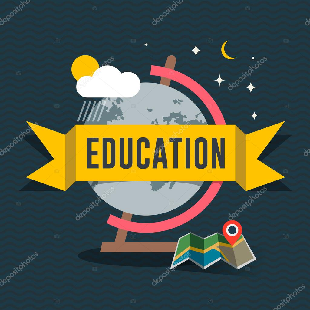 Education flat design concept for web and mobile services and apps. Idea for education, online education, online learning, learn to think, e-learning. Vector Eps10 illustration.