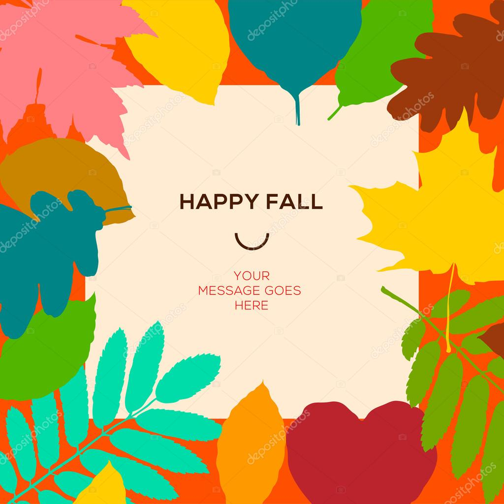 glücklich Herbst Vorlage mit Herbstlaub und einfacher Text, Vektor ...