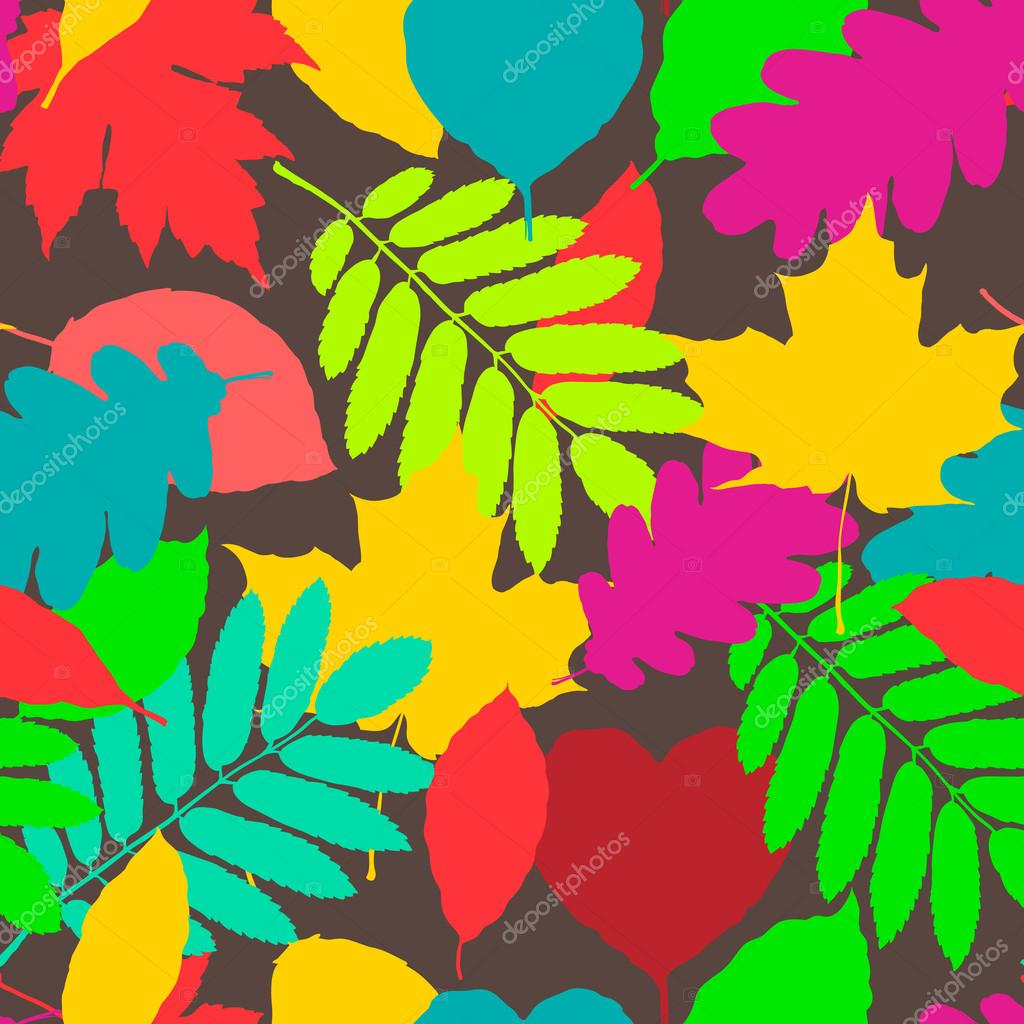 Fall pattern, seamless background of autumnal leaves, vector eps10 illustration.