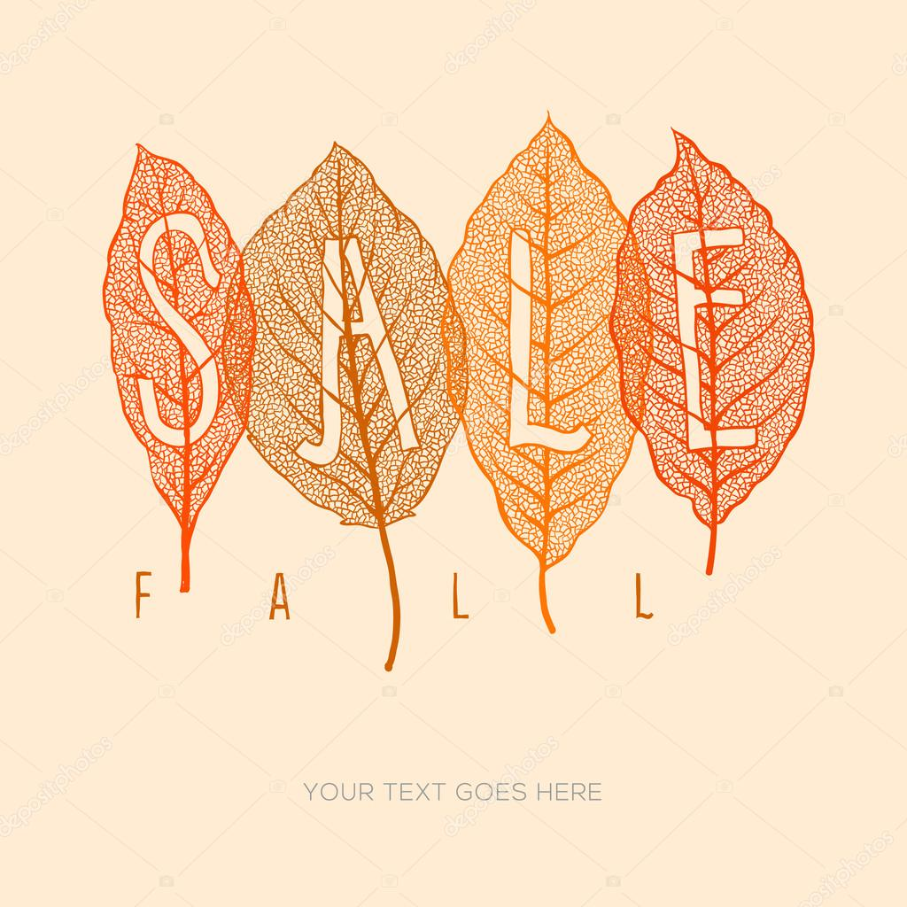 Fall sale poster with dried leaves and simple text, vector illustration.