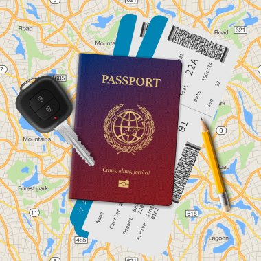 International passport, boarding pass, tickets with barcode and key on the map seamless background, vector illustration.