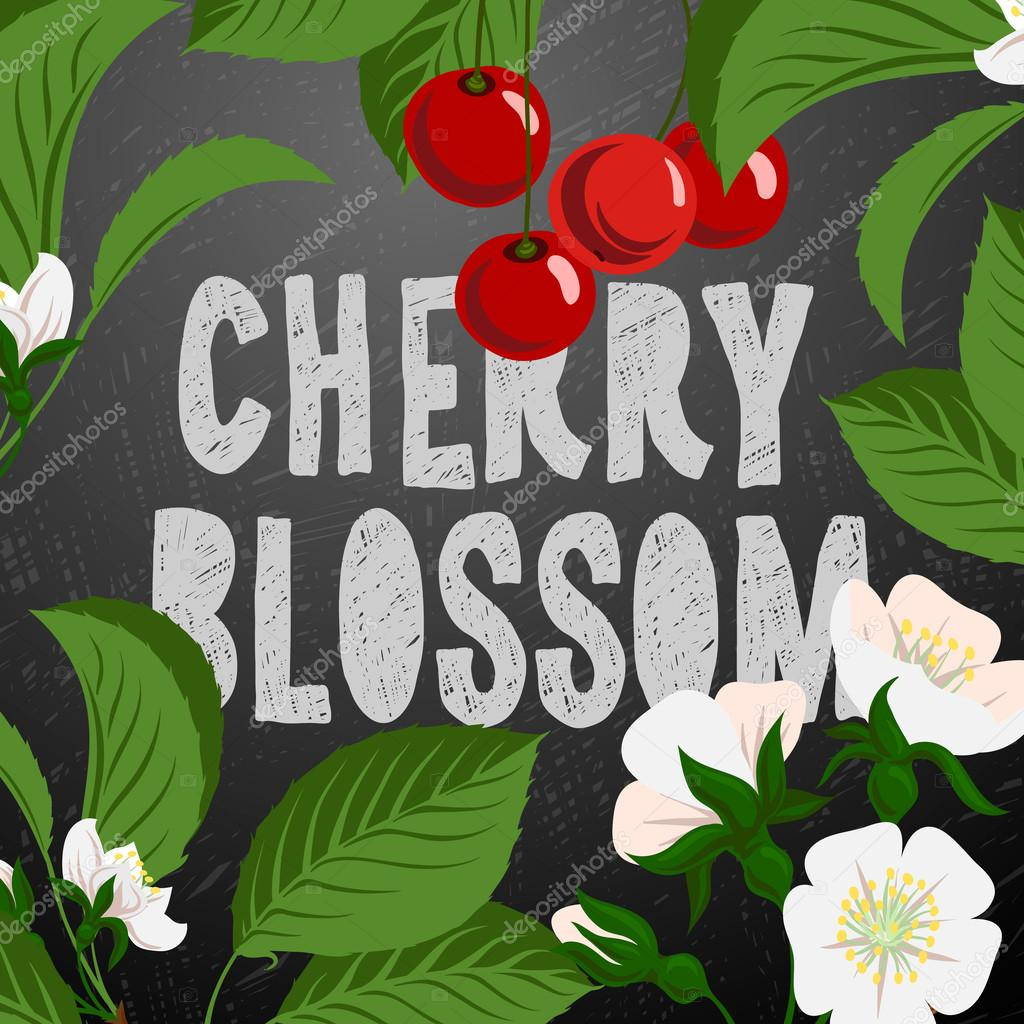Floral background with cherry berries and cherry blossom branch, vector illustration.
