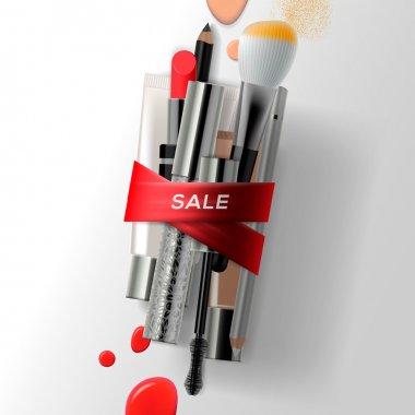 Various makeup brushes and cosmetics with red ribbon. Sale poster, vector illustration.