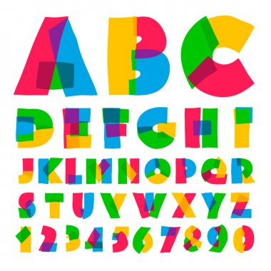 Colorful kids alphabet and numbers, vector illustration.