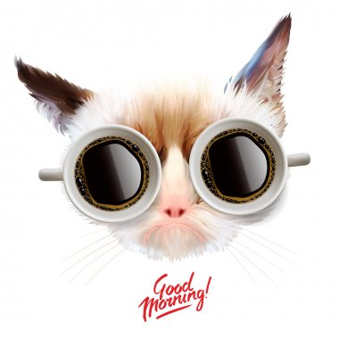 Good morning. Funny cat with cups of coffee
