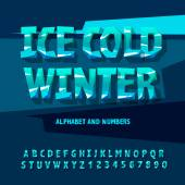 Photo Ice alphabet and numbers, vector illustration.
