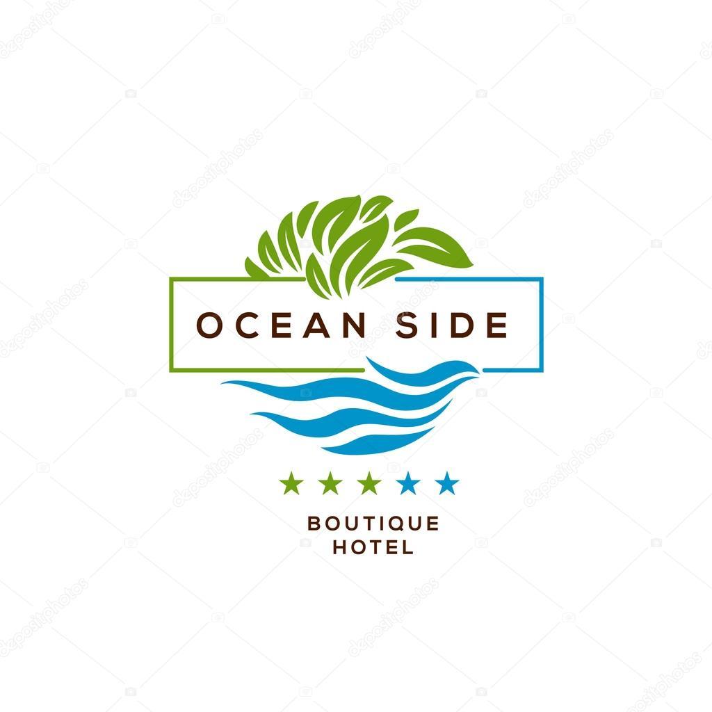 logo for hotel ocean side resort logotype design � stock