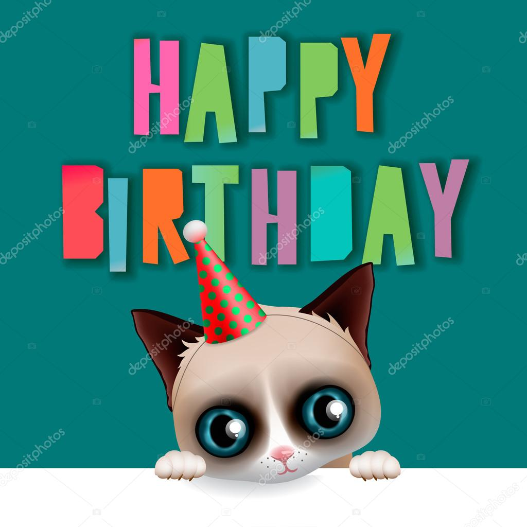 Cute Happy Birthday Card With Fun Cat Stock Vector Ikopylove
