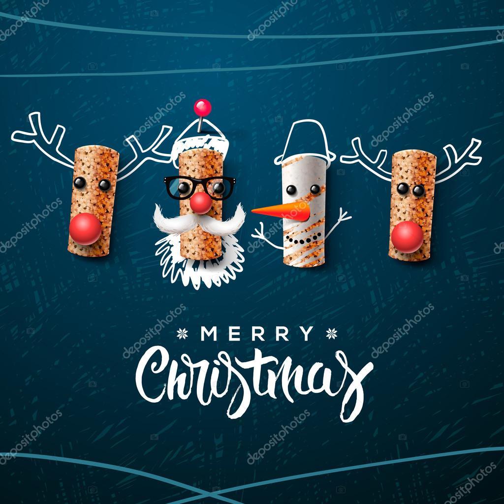 Personaje de Navidad, Papa Noel muñeco de nieve, renos — Vector de ...