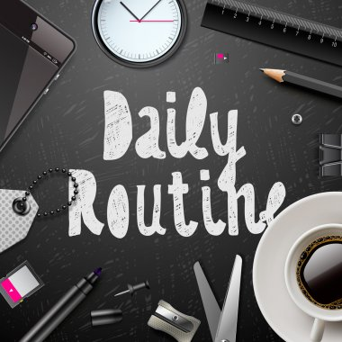 Daily routine, modern office supplies