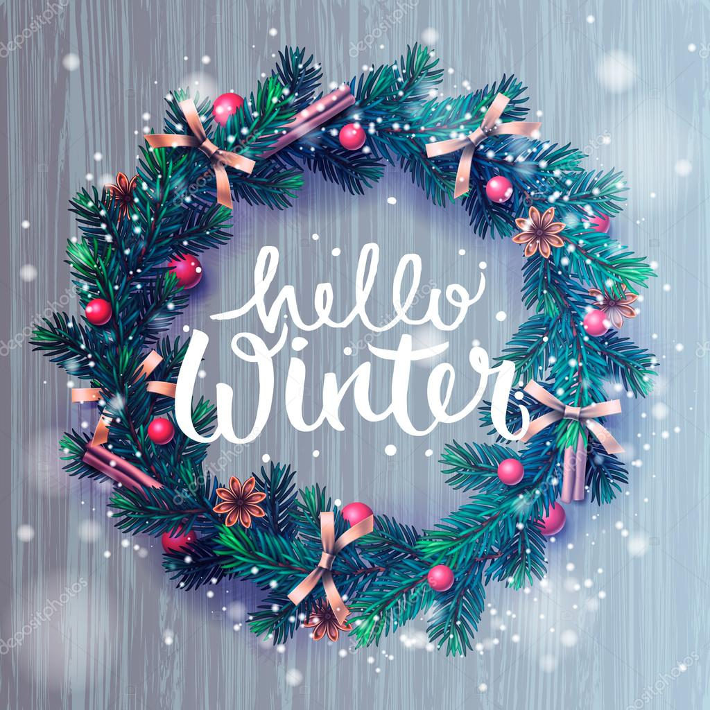 Hello winter background, Christmas wreath