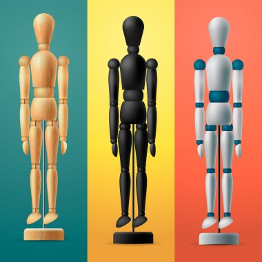 Artists wooden dummy on colorful background