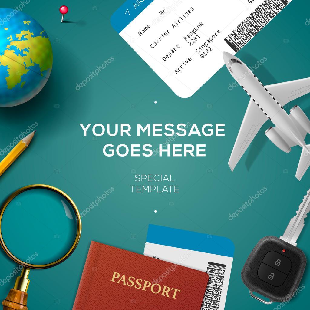 Reisen-Vorlage, Reisen und Urlaub-Konzept — Stockvektor © ikopylove ...