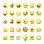 Fotografie Set of emoticons, emoji isolated on white background, vector illustration.