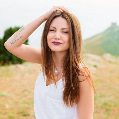 Beautiful modern woman with long hair