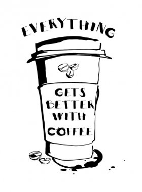 Grungy hand drawn ink paper cup to go take away, roasted beans a