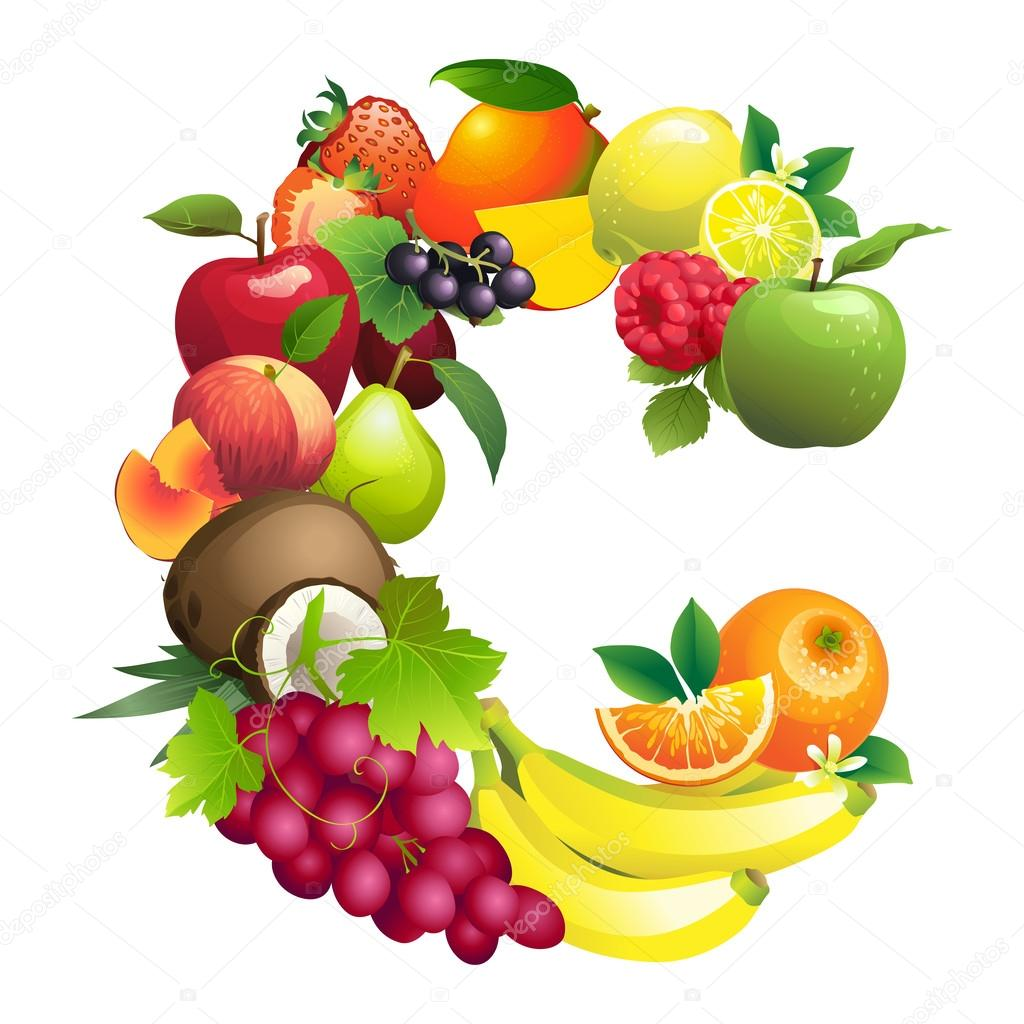 letter c composed of different fruits with leaves u2014 stock vector