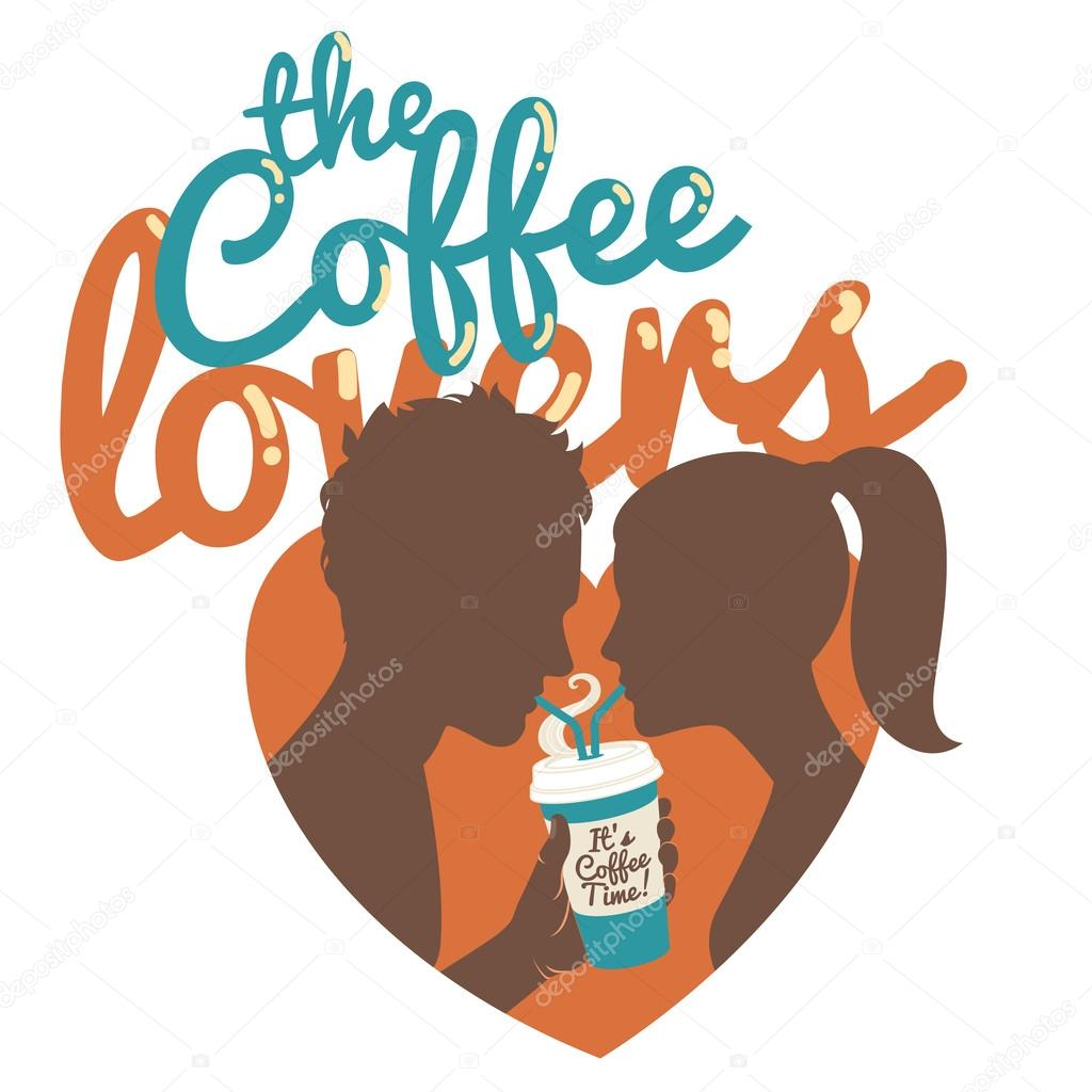 Couple drinking coffee. Flat style. Inscription: The coffee love