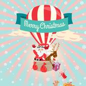 Festliche Frohe Weihnachten Grußkarte mit Santa Claus und seine d