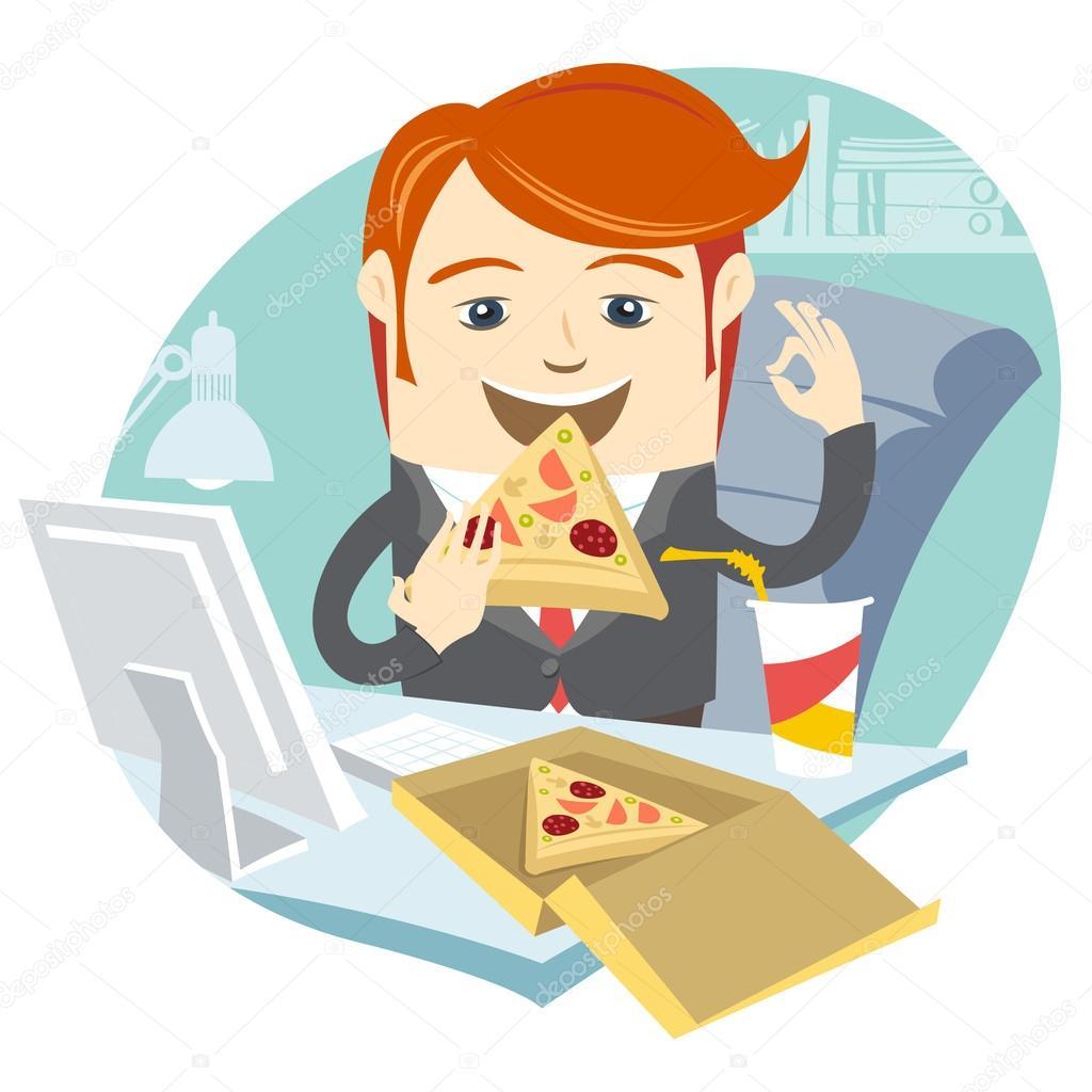 Hipster Bureau Homme Manger Pizza Sur Son Lieu De Travail Plat