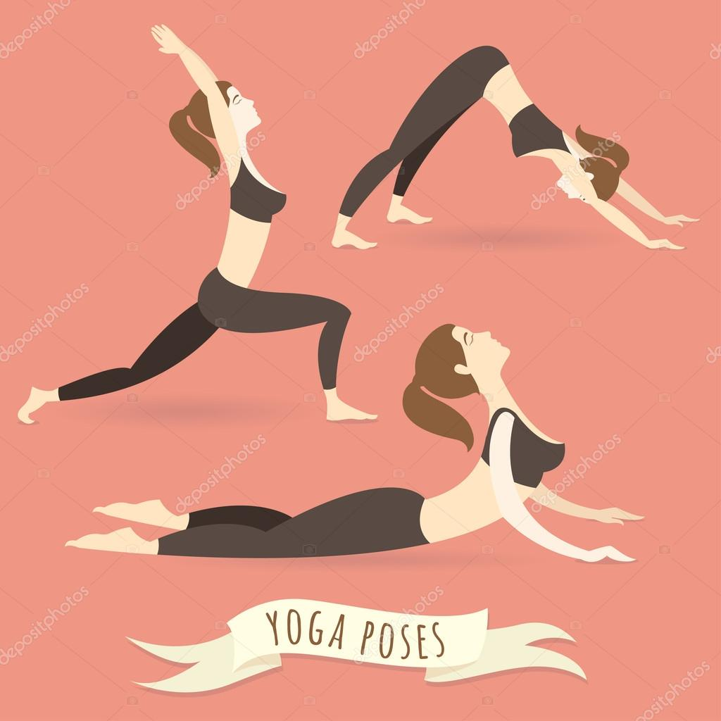 Young woman practicing warrior, downward and upward facing dog p
