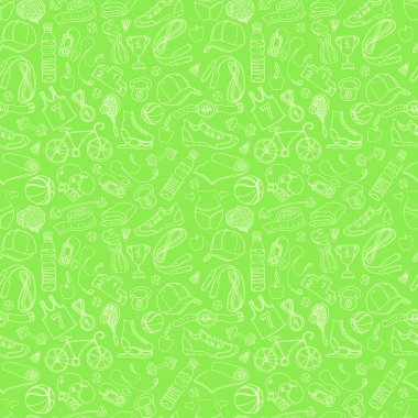 "Картина, постер, плакат, фотообои ""Sport and fitness seamless doodle pattern"", артикул 60846539"