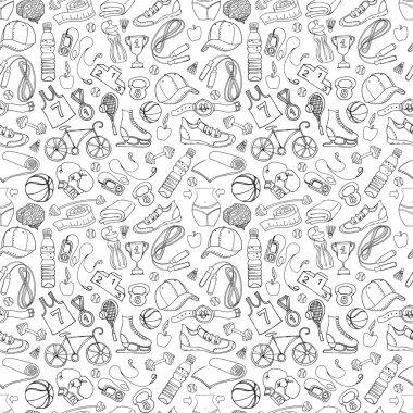 "Картина, постер, плакат, фотообои ""Black and white Sport and fitness seamless doodle pattern"", артикул 60846555"