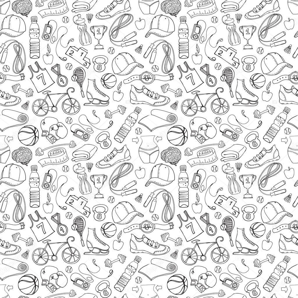 Black and white Sport and fitness seamless doodle pattern