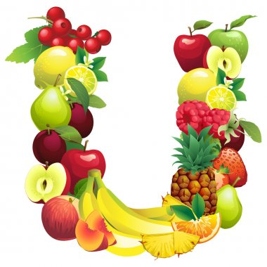 Letter U composed of different fruits with leaves